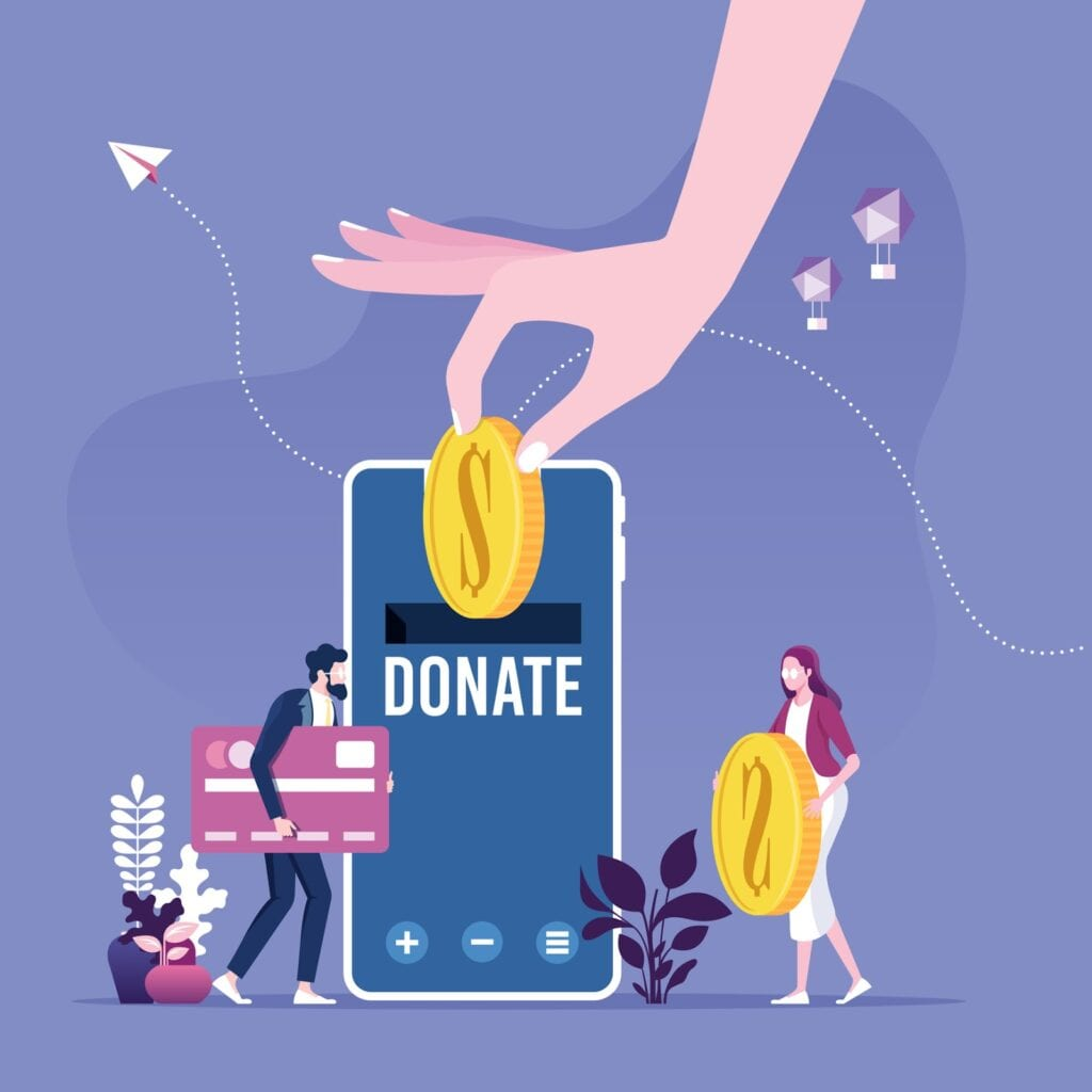 Donating money by online payments