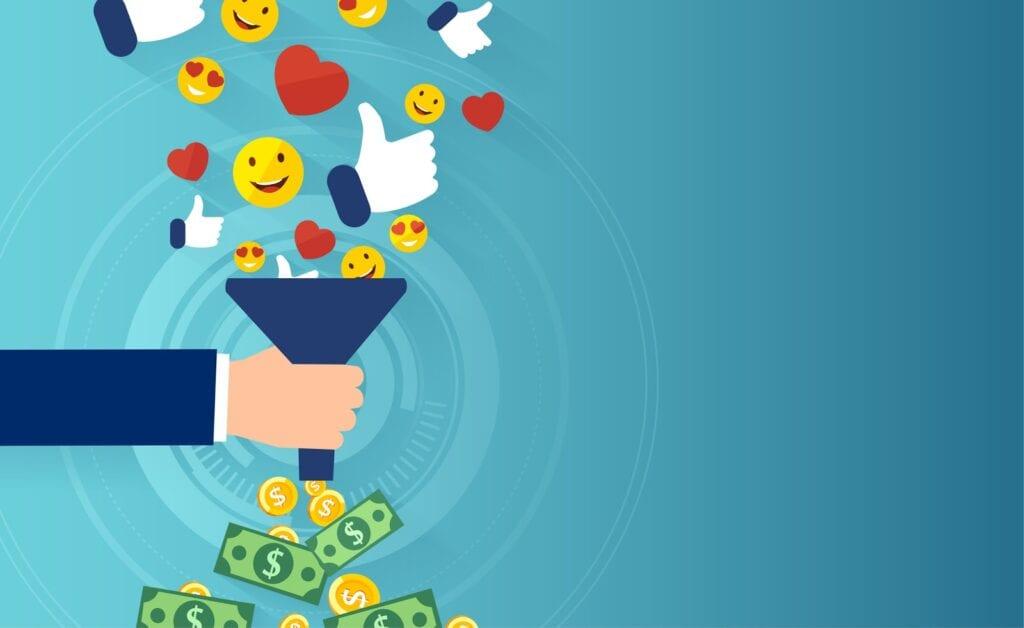 The digital marketing converting online followers into advertising money.